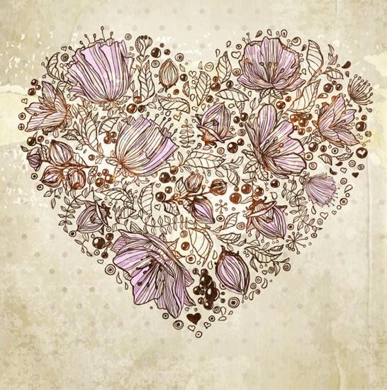 retro floral background flower vector line art