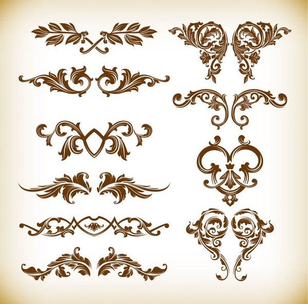 retro floral element vector graphics set