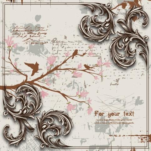 decorative background template retro european grunge birds branch