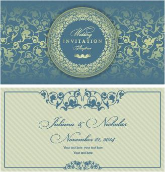 retro floral wedding invitation cards vector