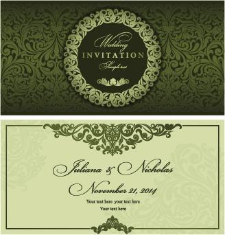 Retro Floral Wedding Invitation Cards Vector Free Vector In