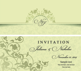 Wonderful Retro Floral Wedding Invitation Cards Vector Free Vector 699.69KB