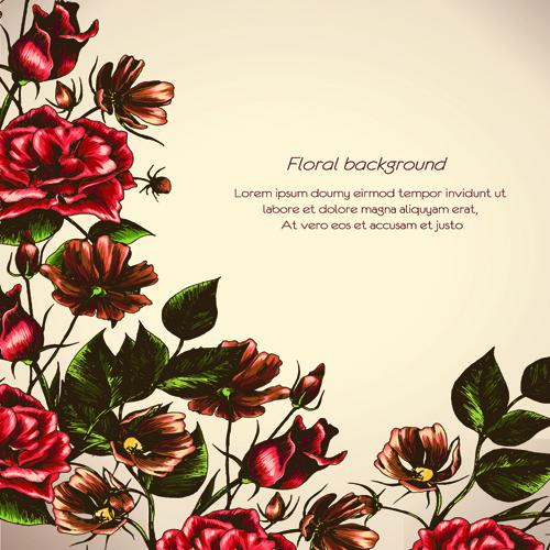 retro flower backgrounds art vector