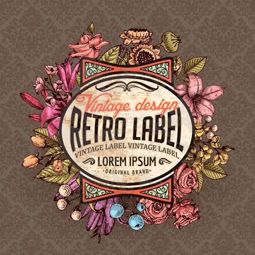 retro flower labels ornate vector set