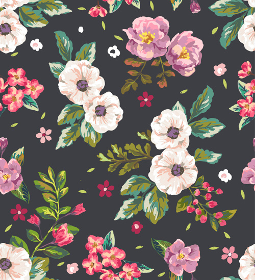 retro flower pattern seamless vector