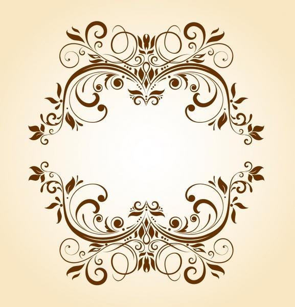 frame template vintage flat design symmetrical curves ornament