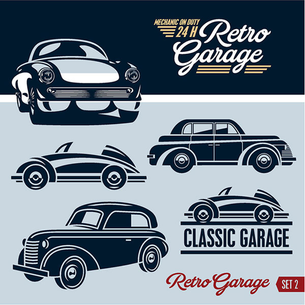 Retro Garage Logos Creative Design Free Vector In