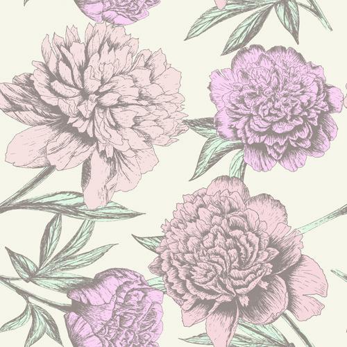 retro hand drawn flowers background design