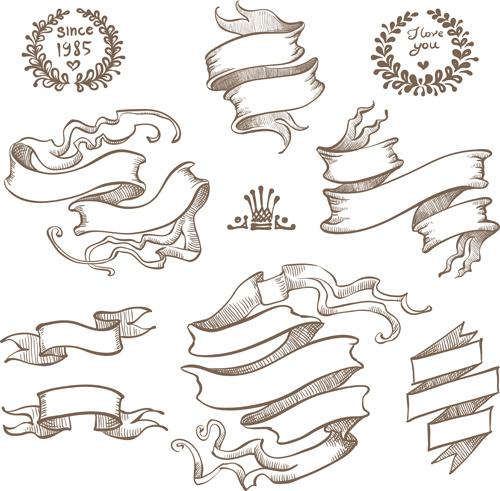 retro hand drawn ribbon with ornaments vector