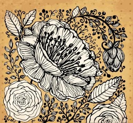 retro hand drawning flowers background vector