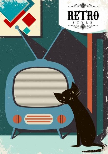retro home background vintage television cat icons decor
