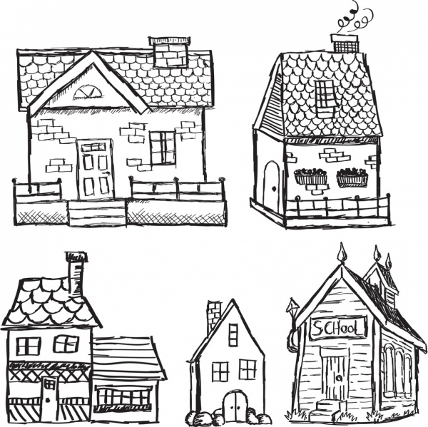retro houses icons black white handdrawn sketch