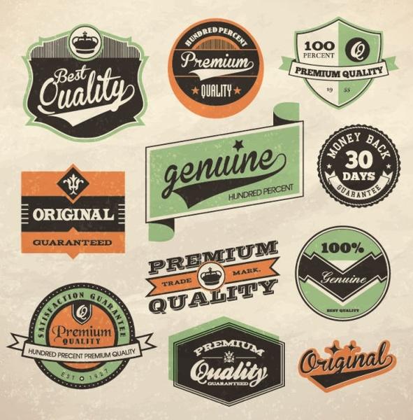 retro label design 01 vector