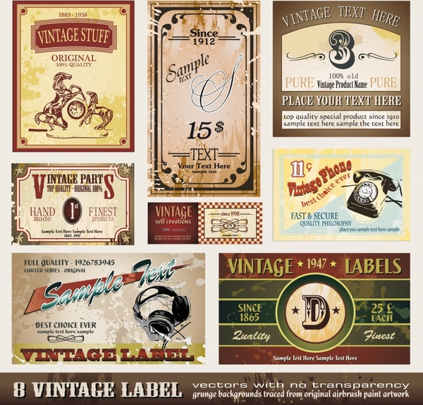label templates colored retro decor horizontal vertical design
