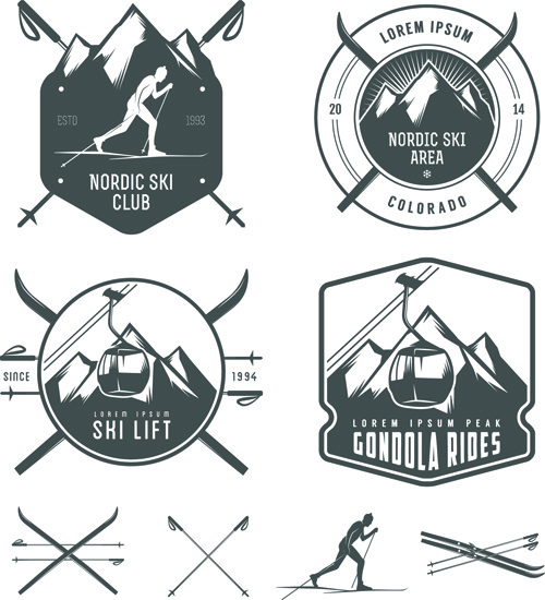 retro labels and emblems set vector