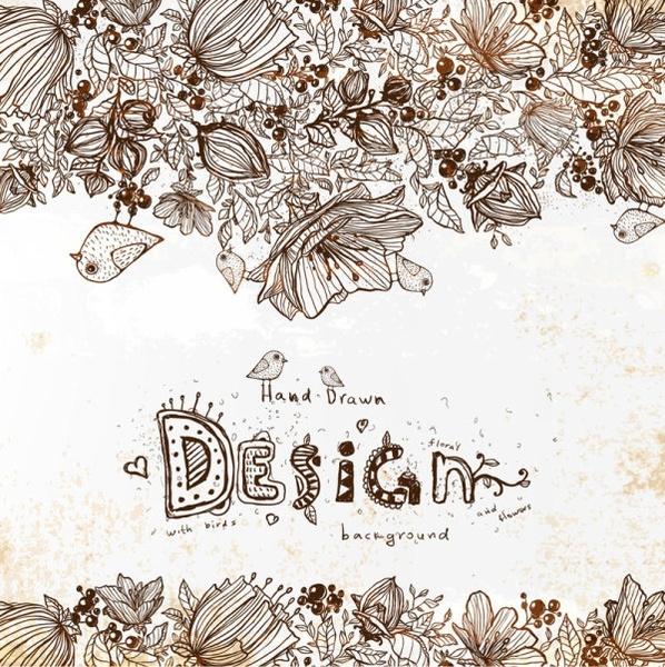 retro line art floral background 01 vector