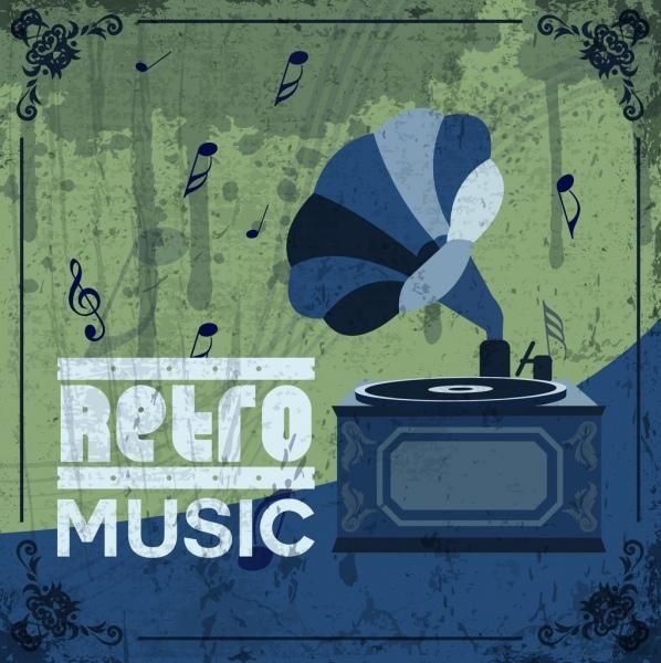 retro music background dark grunge ancient speaker icon