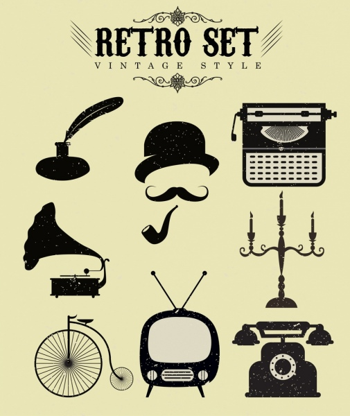 retro objects icons collection black white design