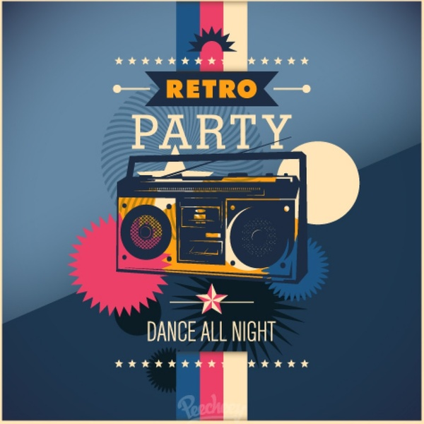 Retro Party Poster Free Vector In Adobe Illustrator Ai