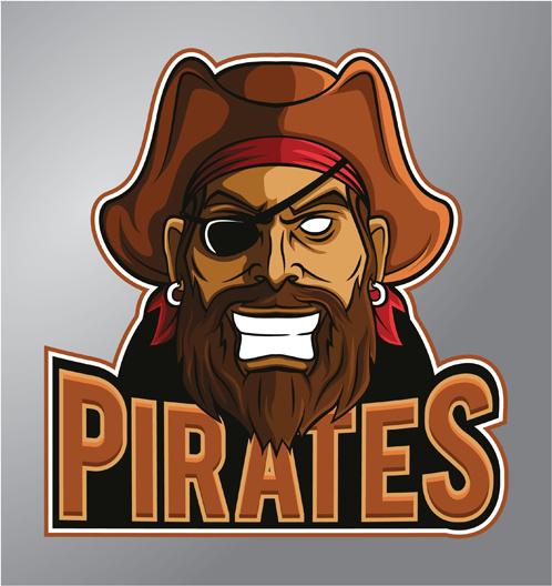 retro pirates logo vector