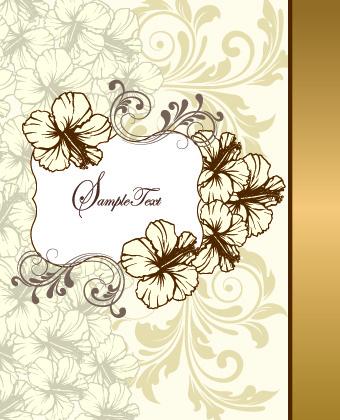 Retro Style Floral Ornament Invitation Card Vector Free