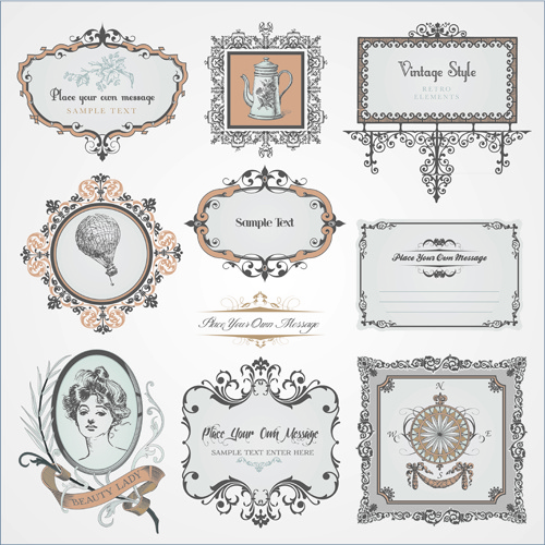 retro style frames with ornament vector