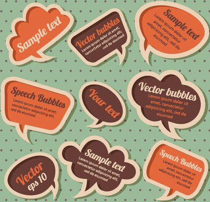retro style speech bubbles vector