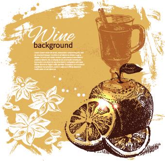 retro style wine background vector