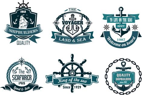 retro styles nautical labels vector