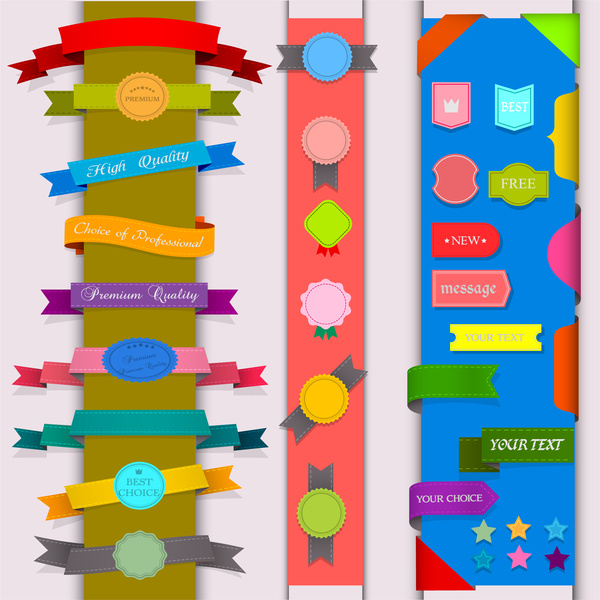 ribbon badge label collection design element