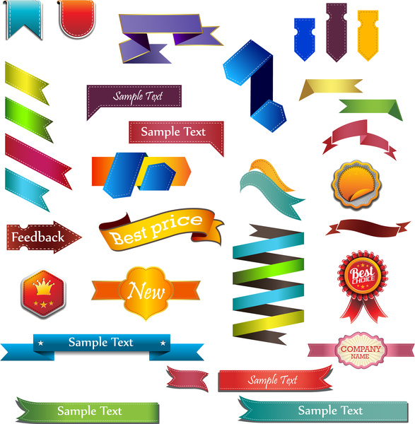 Ribbon banner tag badge label collection Free vector in Adobe