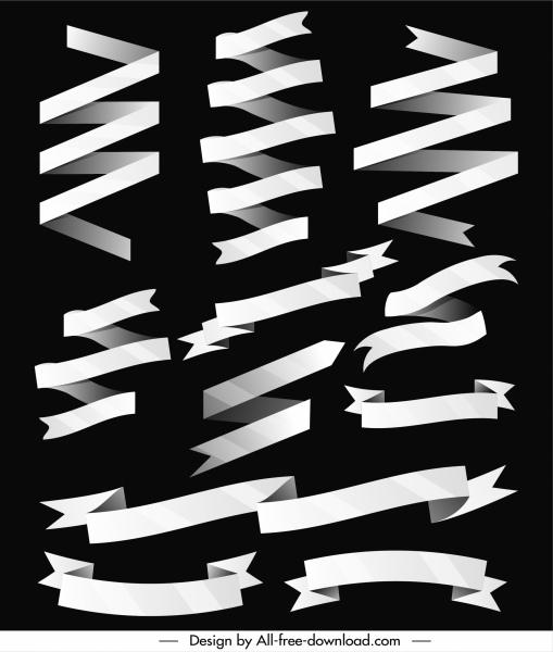 ribbon templates black white 3d sketch