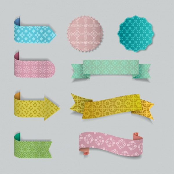 ribbons seals templates 3d colorful decoration repeating pattern