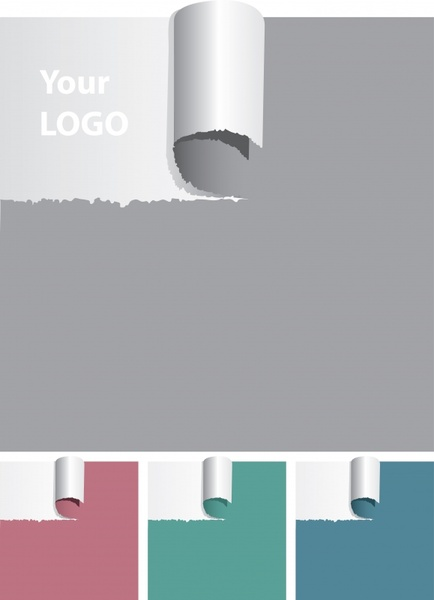 torn paper background templates colored 3d scroll design