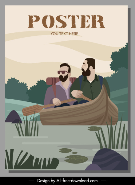 river travel poster rowing boat sketch cartoon design