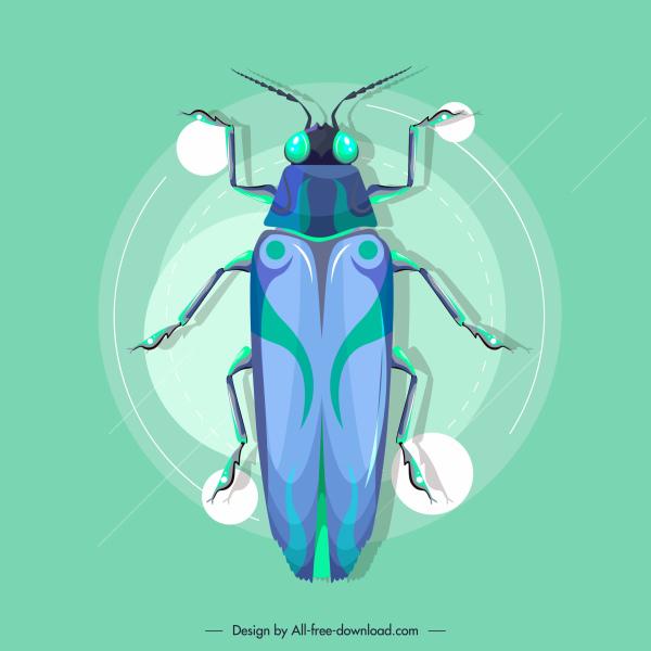 roach insect icon modern blue decor flat desgin