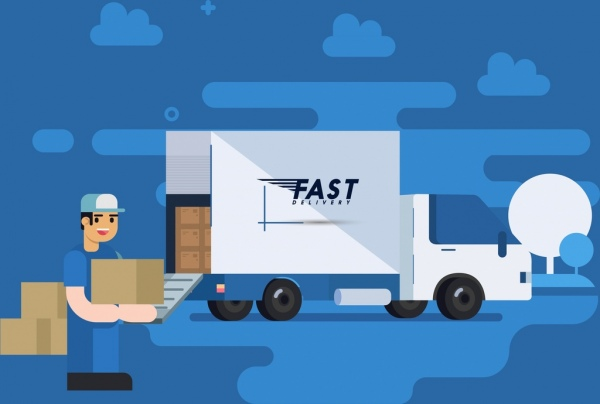 road logistic banner truck male shipper icons