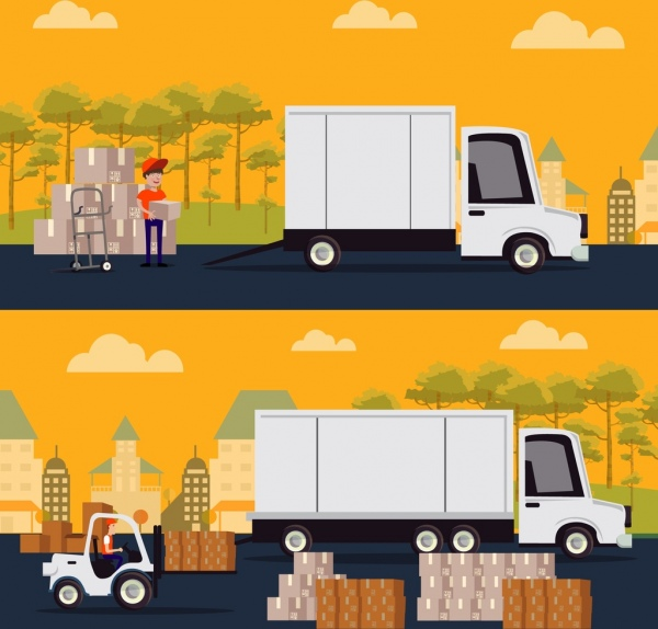 road logistic drawings truck boxes man icons