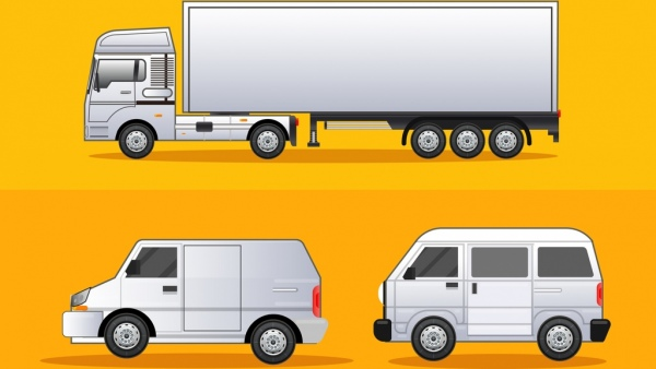 road logistics design elements truck van icons