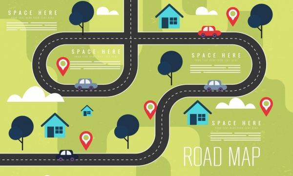 road map background colored flat design free vector in adobe