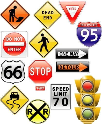 traffic signs collection vector illustration in various shapes free
