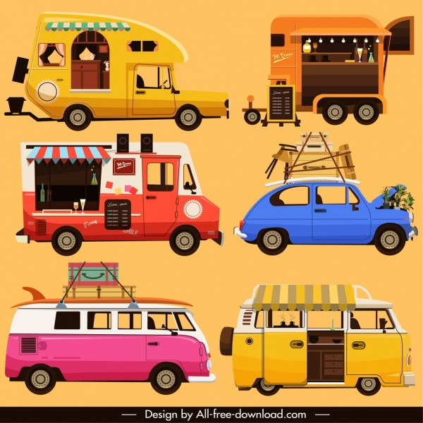 road vehicles icons classical van car bus sketch
