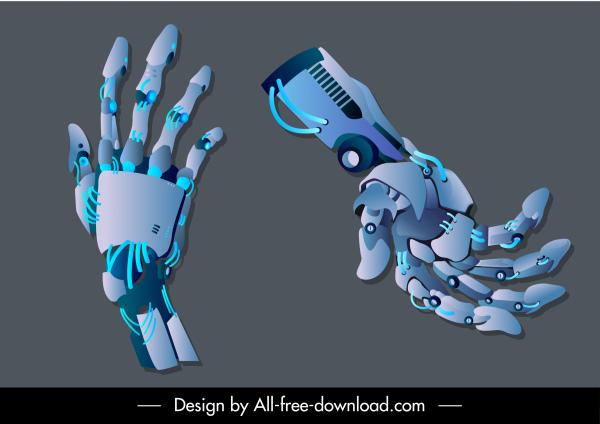 robot hands icons modern 3d sketch