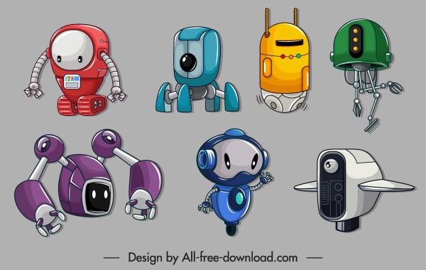robot icons colored modern sketch