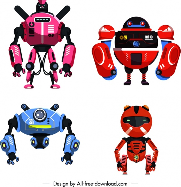 robot model icons colorful modern shapes