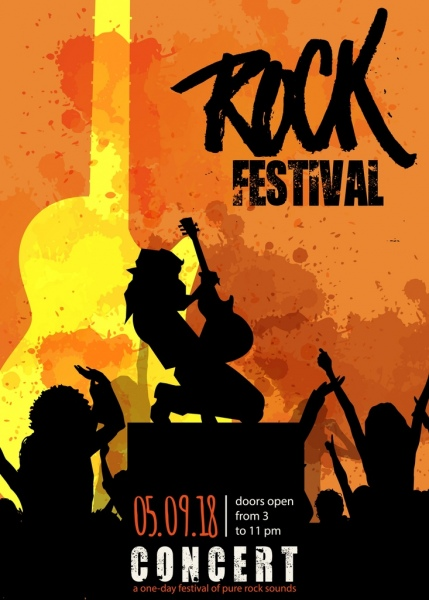 rock festival poster silhouette icons grunge decor