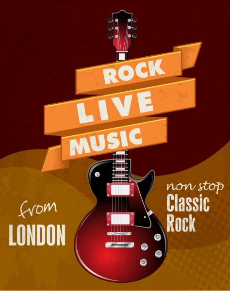 rock live banner electrical guitar icon ribbon decor