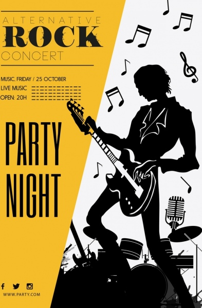 Rock Party Banner Guitarist Icons Silhouette Design Free Vector In Adobe Illustrator Ai Ai Format Encapsulated Postscript Eps Eps Format Format For Free Download 2 82mb
