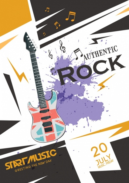 rock party poster violet grunge decoration guitar icon
