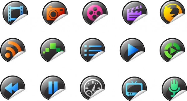 ui icons templates modern curled up circle shapes